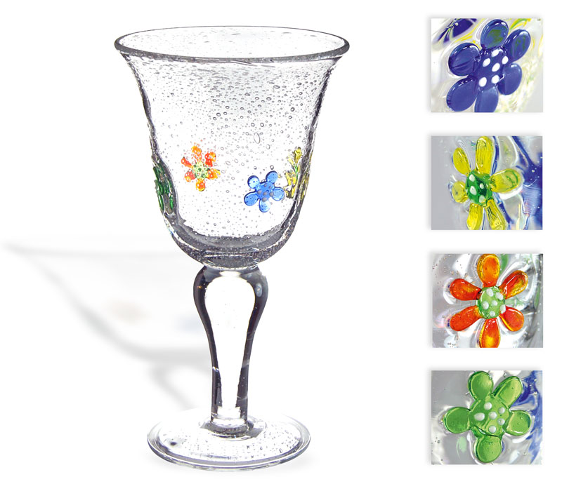 "Glass goblet ""summer"" with colourful flowers"